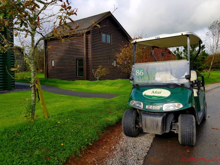 mid-week stay at bluestone - our buggy outside our Grassholm Lodge