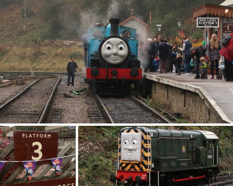 a fun day out with Thomas the tank engine - photo collage of Thomas and a Diesel engine