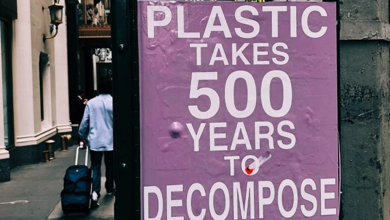 9 Easy Ways To Become Plastic Free At Home - Ways to Reduce your Plastic Waste - A Sign saying how long it takes plastic to decompose.