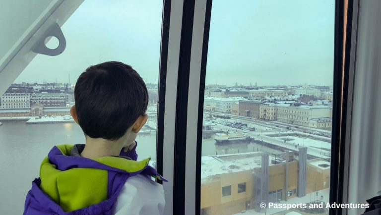 Boy enjoying the view of Helsinki from the SkyWheel