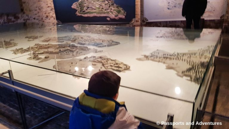 Boy admiring the model of the Soumenlinna Sea Fortress, Helsinki
