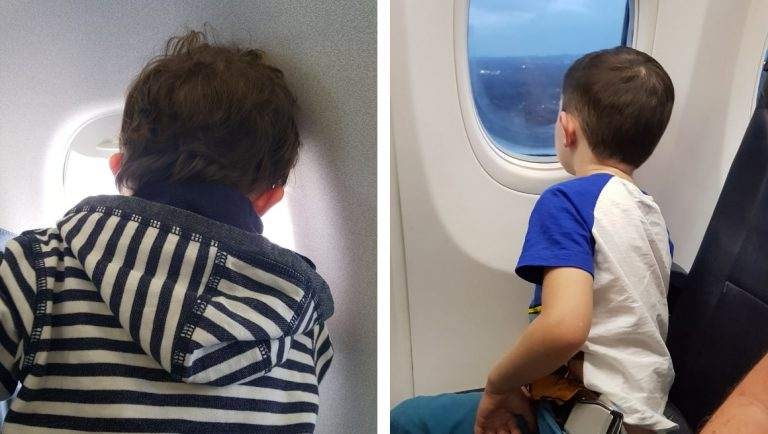 Awesome Tips For Flying With Babies and Toddlers - Toddler and boy looking out of an airplane window