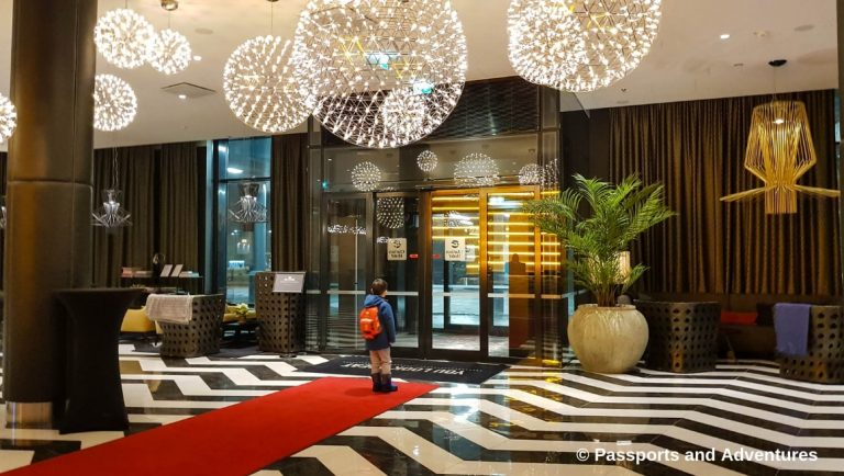 Clarion Hotel Helsinki Airport - View of the front entrance from within the lobby of the hotel.