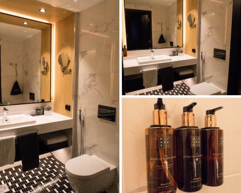 Clarion Hotel Helsinki Airport - Photo collage of the bathroom and bath products of a standard family room in the hotel.