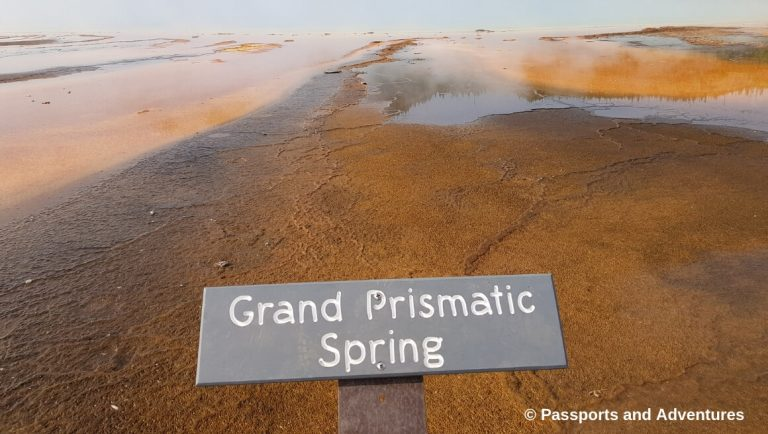 A picture of the sign at Grand Prismatic Spring in Yellowstone National Park