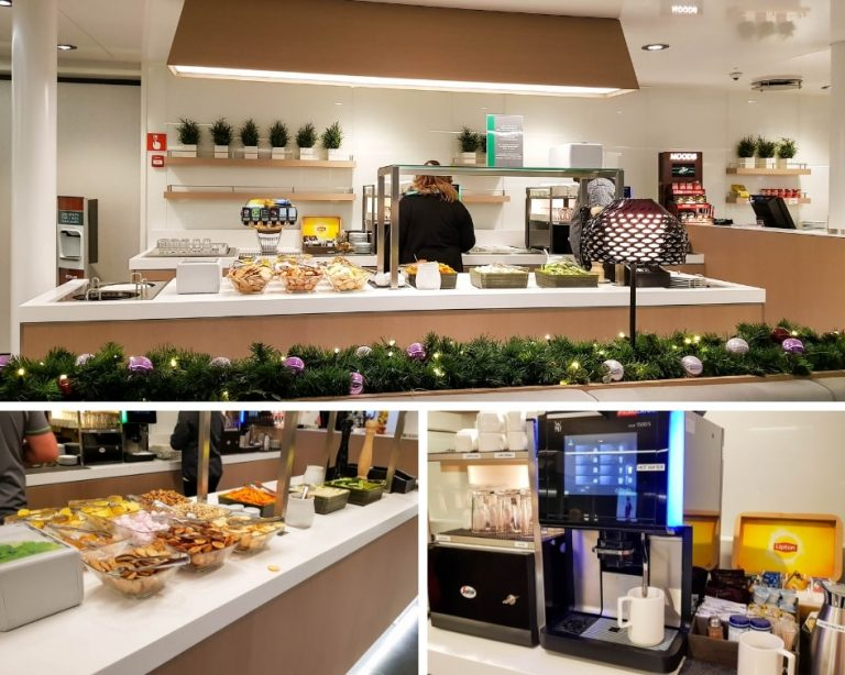 Tallink Silja Ferry Comfort Class Review - Collage of the food and beverage counter in the Comfort Lounge on board the Megastar ship.