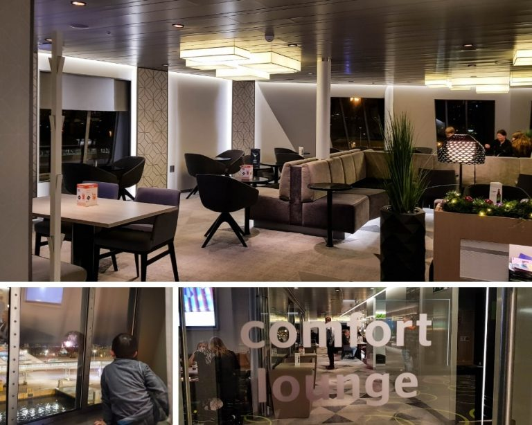 Tallink Silja Ferry Comfort Class Review - Photo collage of the Comfort Lounge on board the Megastar ship.