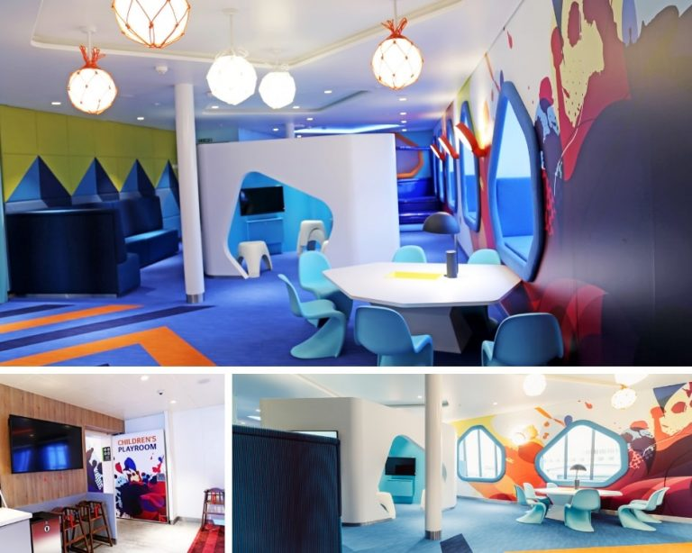 Tallink Silja Ferry Comfort Class Review - Collage of the children's play area on board the Megastar ship.