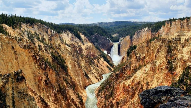 One of the waterfalls on the Yellowstone River in Yellowstone National Park