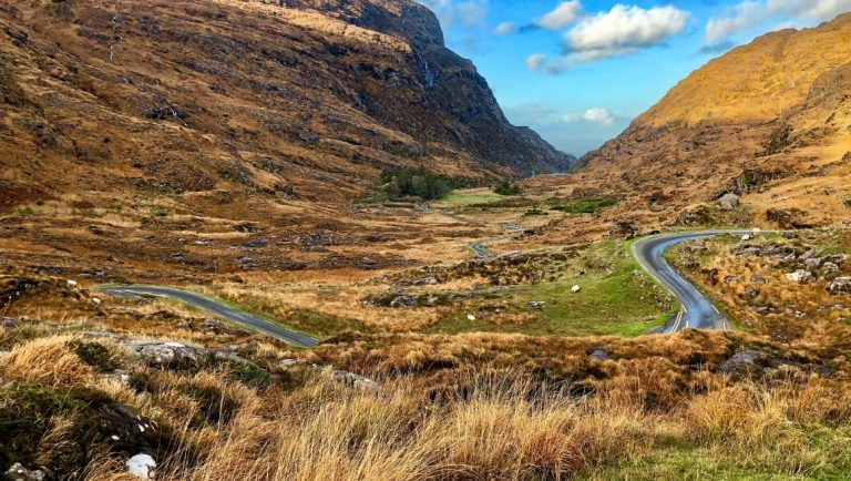 The Gap of Dunloe in Kerry, Ireland. A view of the road looking back towards the lakes.