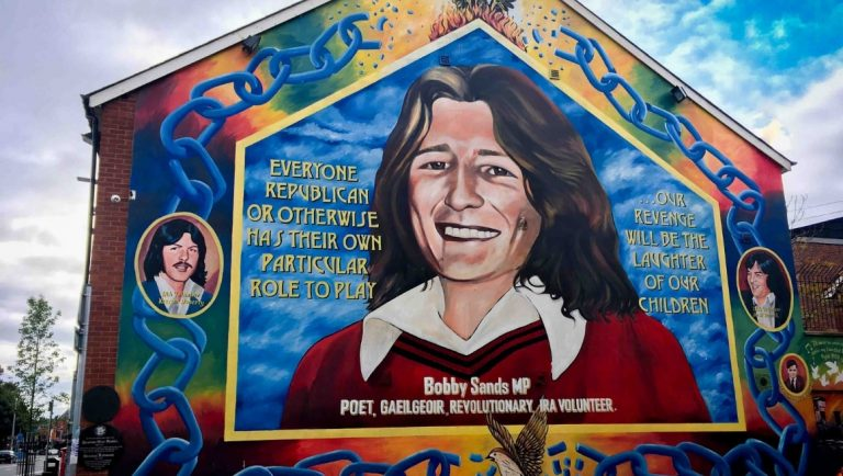 The Bobby Sands Mural on the Falls Road in Belfast.