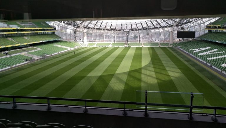 An empty Aviva Stadium in Dublin, home to Irish rugby.