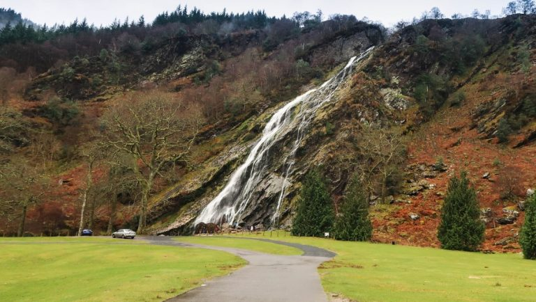 Powerscourt Waterfall in Wicklow, Ireland.