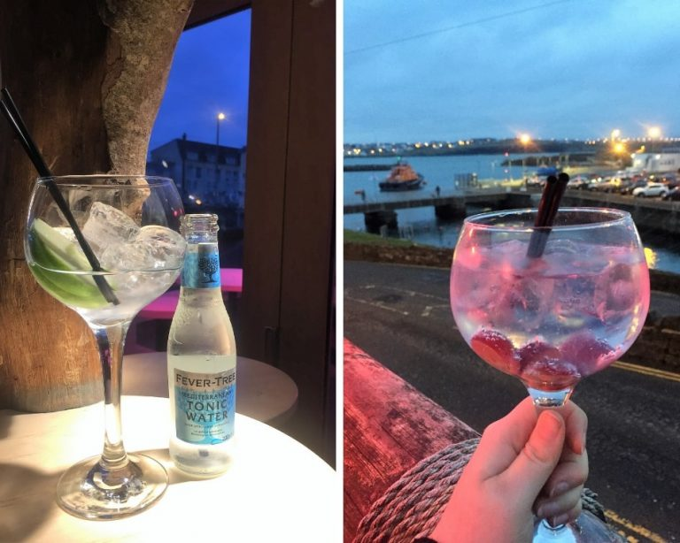 Why not drink gin in Portrush. Two pictures of gin form this collage, both taken in Portrush, Northern Ireland.