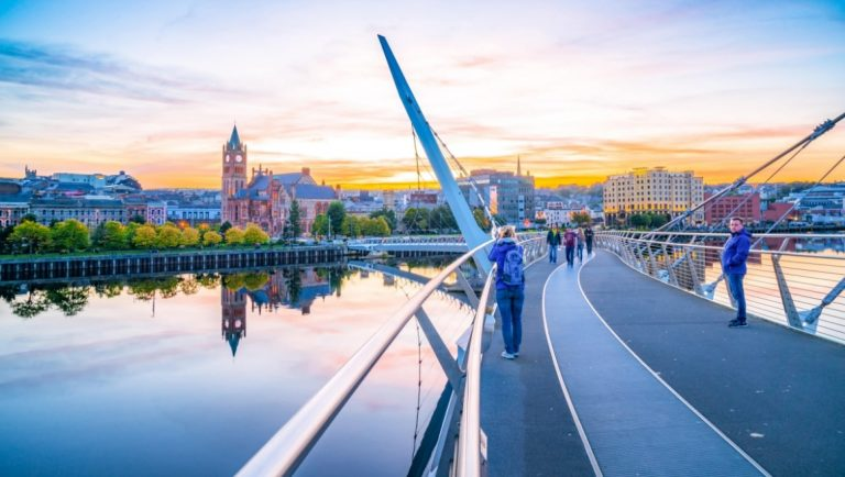 The Peace Bridge in Derry, Northern Ireland is a must-see place in Ireland.