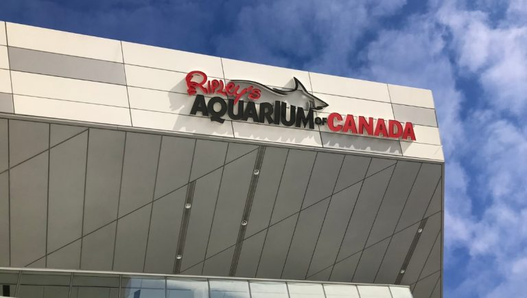 The outside of the Ripley's Aquarium, Toronto