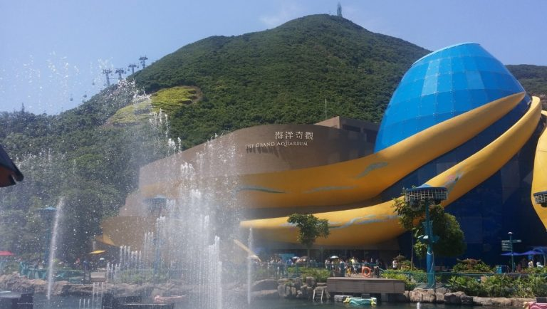 The outdoor fountains and building of Ocean Park Aquarium, Hong Kong