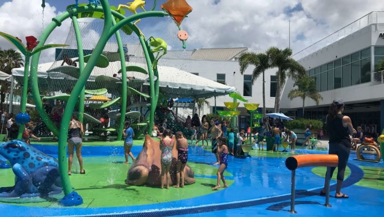 The outdoor waterpark of the Florida Aquarium
