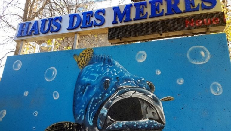 The outside placard of the Haus Des Meeres Aquarium in Vienna