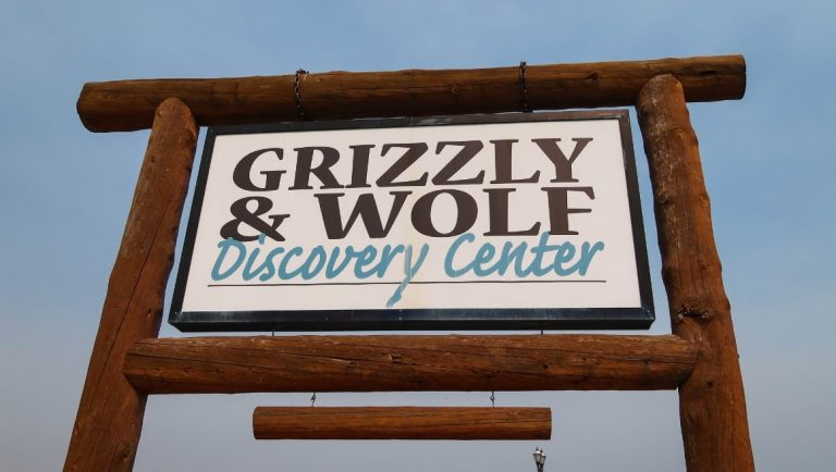 The sign for the Grizzly and Wold Discovery Centre, one of the top things to do in West Yellowstone