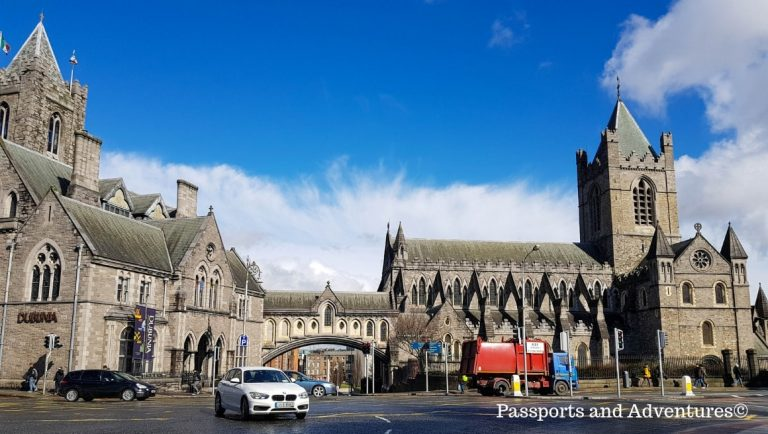 A view of Christchurch Cathedral and St Michael's Hill in Dublin Ireland