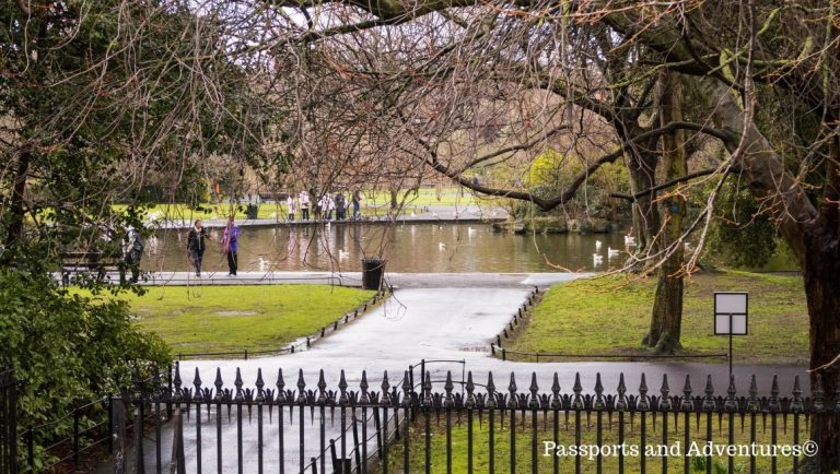 A view towards the lake inside St Stephen's Green, one of the best free things to do in Dublin with kids