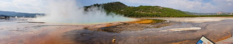 Grand Prismatic Spring is one of the best things to see in Yellowstone with young kids, just keep hold of them on the boardwalks