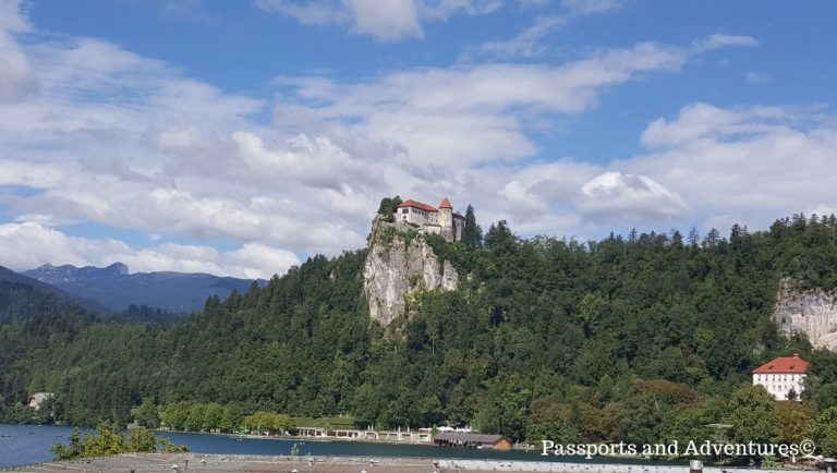 A view from Bled Castle from the opposite side of the lake