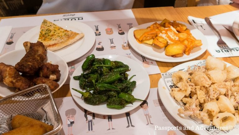 A table full of tapas dishes in a Barcelona restaurant