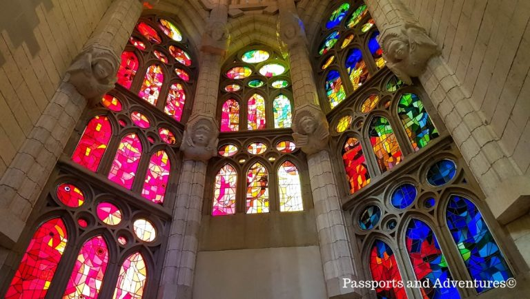 The beautifully decorated and colourful stained-glass windows of La Sagrada Familia, one of the top tourist attractions in Barcelona