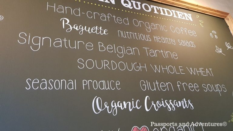 The Main blackboard sign inside Le Pain Quotidien, Southbank - A great place to eat in London with a toddler