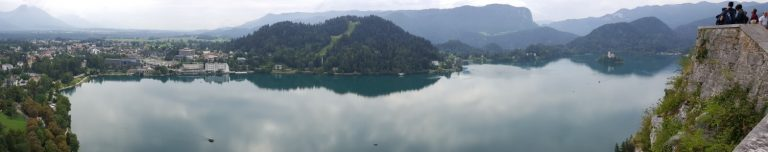 Panorama view of Lake Bled from the castle which sits on top of a hill overlooking the lake