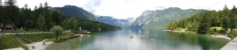 A panorama view of Lake Bohinj, Slovenia
