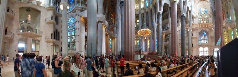 A panorama view inside the Sagrada Familia in Barcelona