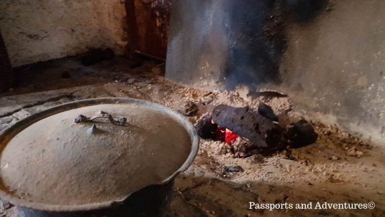 A real peat fire inside one of the houses at Bunratty Castle Folk Park