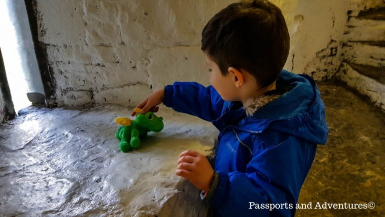 A young boy playing with a small green dragon teddy bear in Bunratty Castle