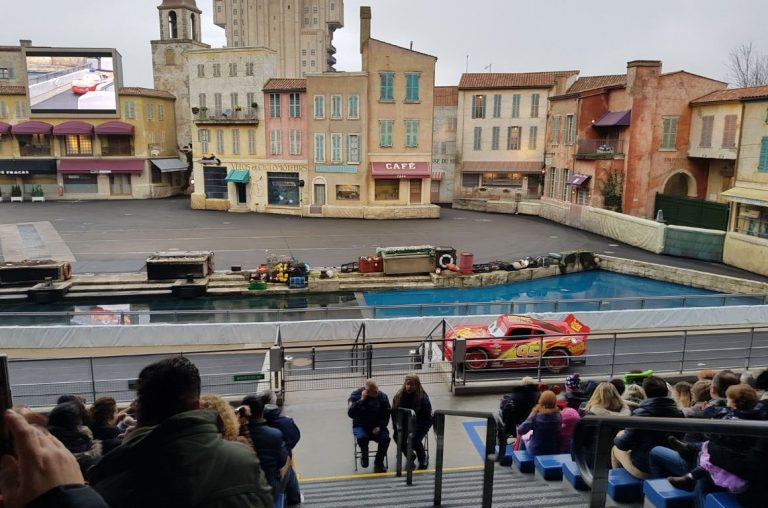 Lightening McQueen making an appearance at the Moteurs Rally show in the Walt Disney Studios at Disneyland Paris
