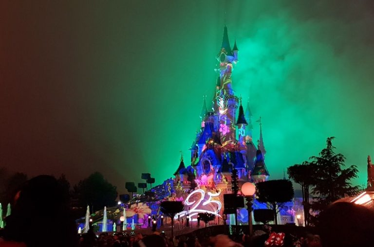 The Sleeping Beauty Castle fireworks display and light show at Disneyland Paris
