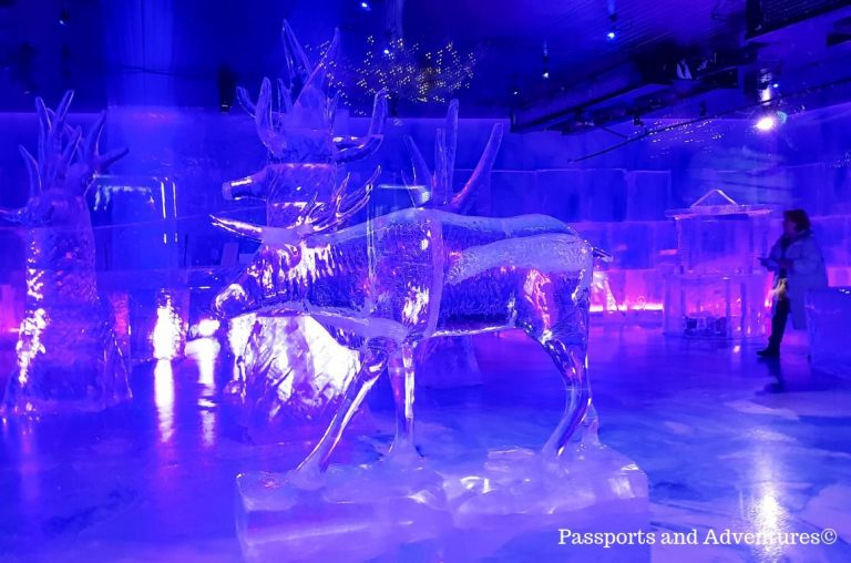 An ice sculpture of a reindeer inside the ice bar at SantaPark, Rovaniemi
