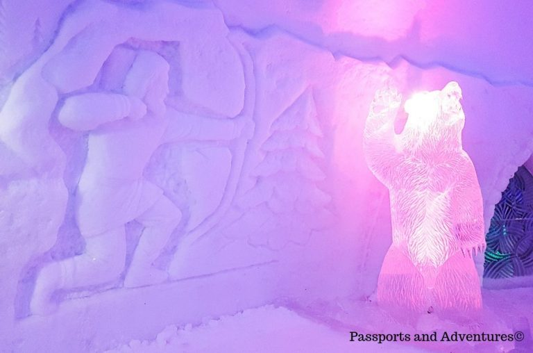 The Ice Gallery carvings and murals inside Snowman World at Santa Claus Village, Lapland