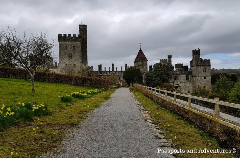 The main walkway of the upper gardens of Lismore Castle, leading to the castle itself
