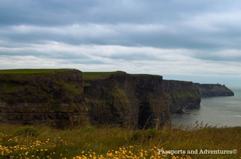A picture of the Cliffs of Moher in County Clare in Ireland on a dull, cloudy day