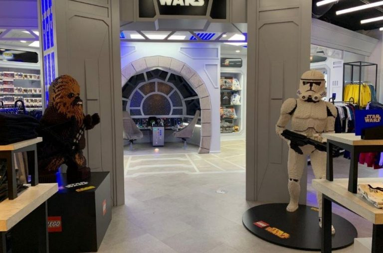 DJ's Toys in Sydney. Chewbaca and a Storm Trooper on display.