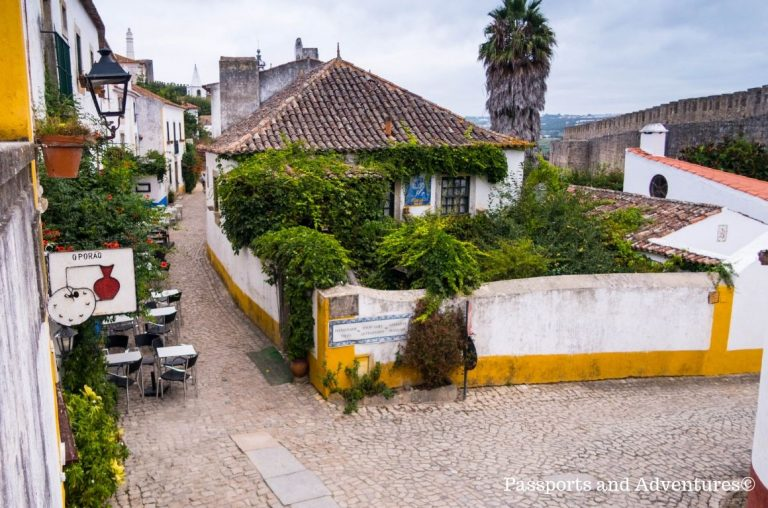 A narrow street in Obidos in Central Portugal