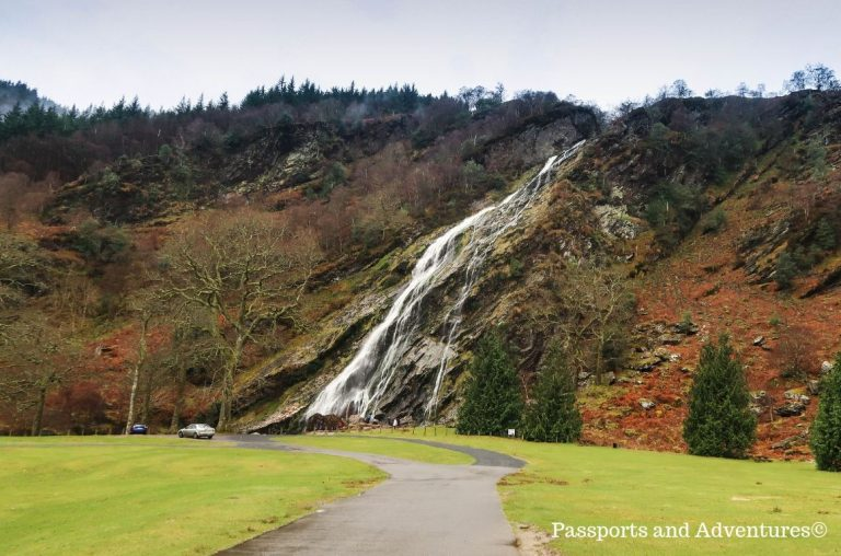 Powerscourt Waterfall in County Wicklow Ireland on a spring day