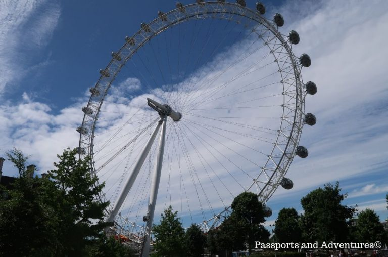 A view of the London Eye giant Ferris wheel from the Jubilee Gardens