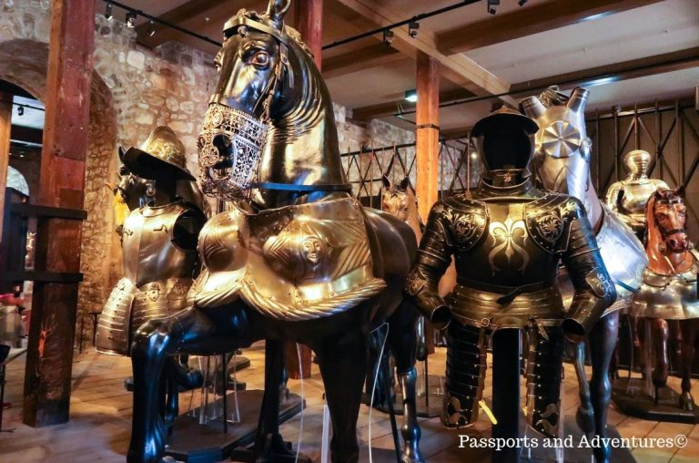 Suits of armour and armour for horses in the White Tower at the Tower of London