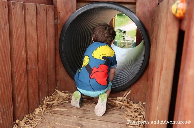 A little boy in a blue Mickey Mouse shirt and shorts entering a tunnel in a children's playground at Bluestone