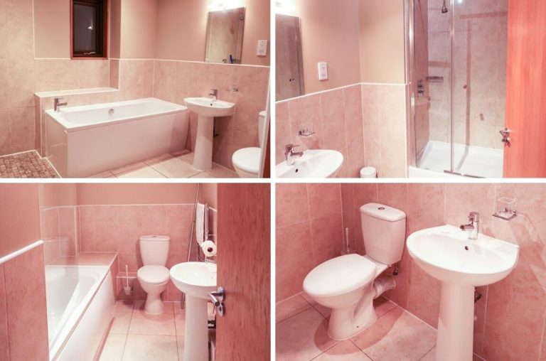 A photo collage of the bathrooms in a Grassholm Lodge at Bluestone Wales
