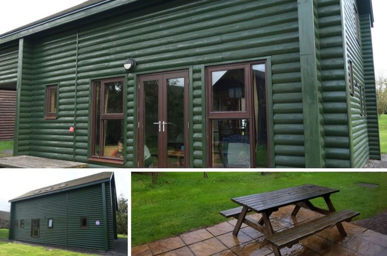 A photo collage of the exterior of a Grassholm Lodge at Bluestone in Wales